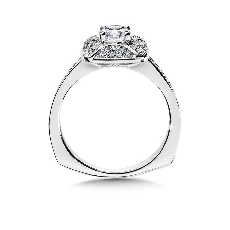 Valina Diamond Halo Engagement Ring Mounting in 14K White Gold (.26 ct. tw.)