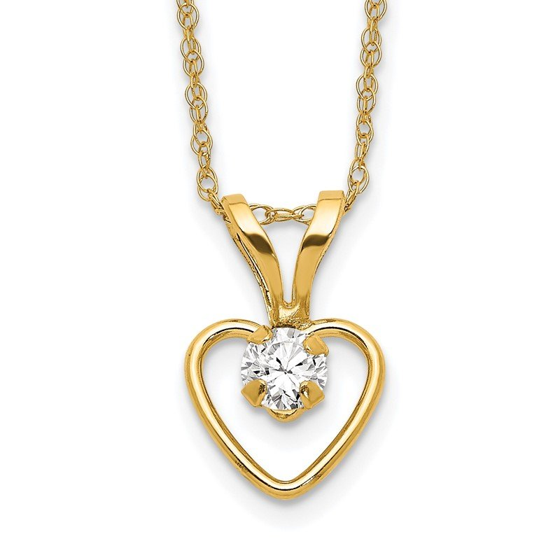 Quality Gold 14k Madi K 3mm White Zircon Heart Birthstone Necklace