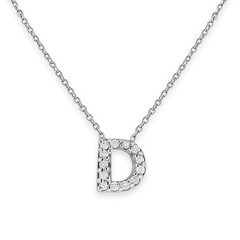 Diamond Bitty Block Initial D Necklace