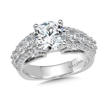 Diamond Engagement Ring Mounting with Side Stones in 14K White (1.12 ct. tw.)