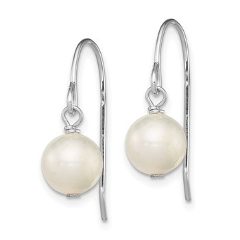 Sterling Silver Rhodium-plated White 7-8mm FWC Pearl Dangle Earrings