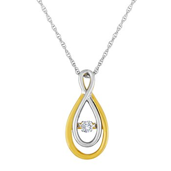 14KWY 1/8CTW HEARTBEAT COLLECTION PENDANT