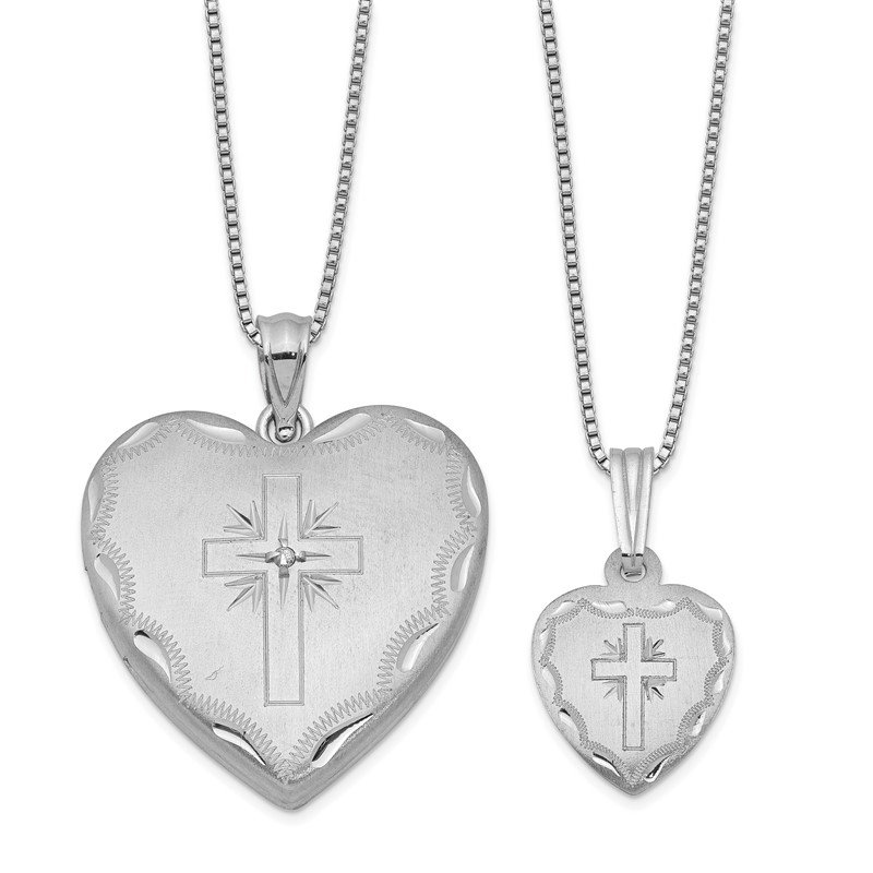 Quality Gold Sterling Silver Rhodium-plated Diamond Cross Heart Locket & Pendant Set
