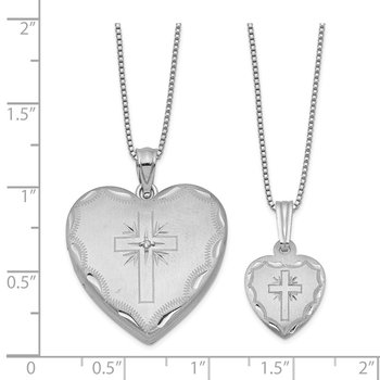 Sterling Silver Rhodium-plated Diamond Cross Heart Locket & Pendant Set