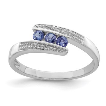Sterling Silver Rhodium Tanzanite & Diam. Ring