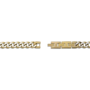 Stainless Steel Gold Ion Plated Thick Two Tone Curb Chain Necklace - 11 MM Wide, 22 Inches Length with Fold-Over Clasp