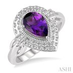 ASHI silver gemstone & diamond ring