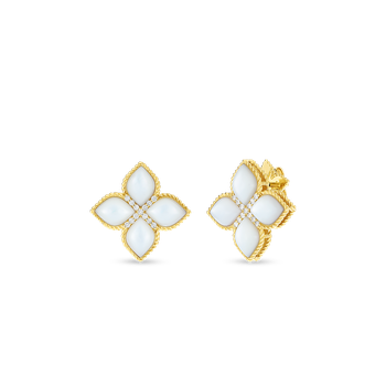 #27428 Of 18Kt Lg Mother-Of-Pearl & Diamond Stud Earring
