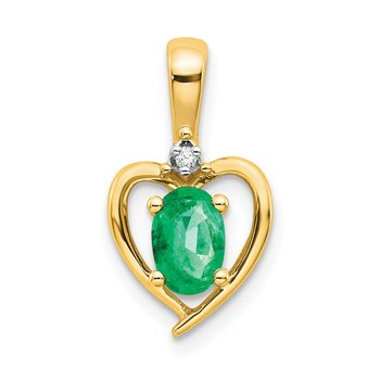 14k Emerald and Diamond Heart Pendant