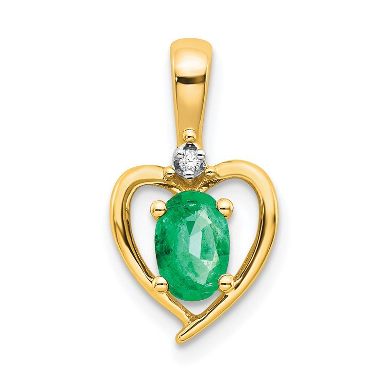 Quality Gold 14k Emerald and Diamond Heart Pendant