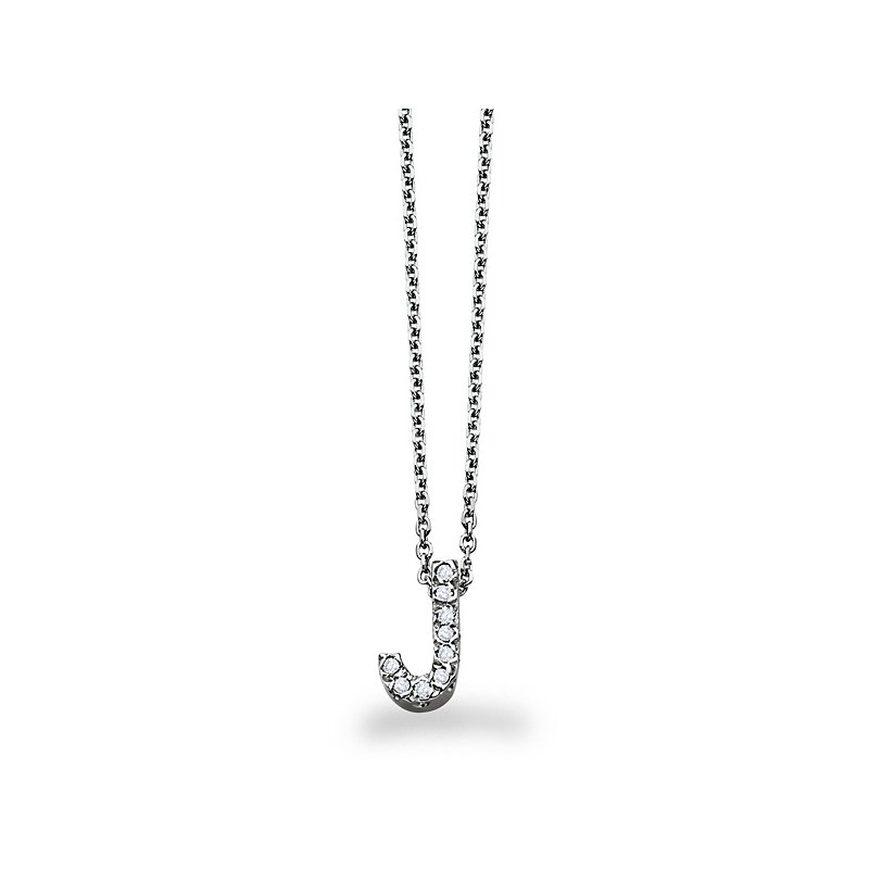 "KC Designs Diamond Block Initial ""J"" Necklace in 14k White Gold with 9 Diamonds weighing .07ct tw."