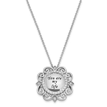 Sterling Silver CZ Antiqued You Are My Life 18in. Necklace