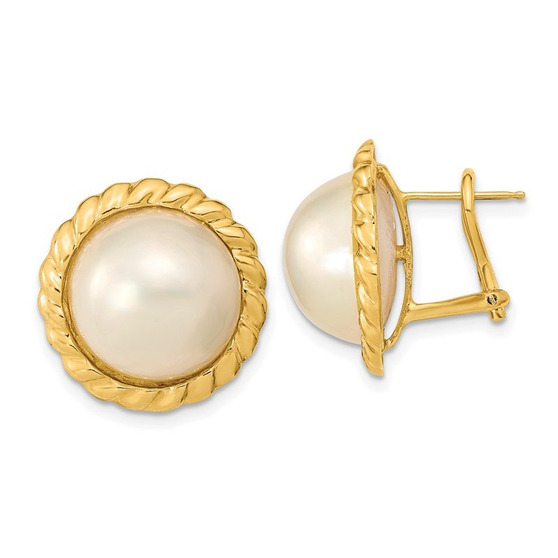 Quality Gold 14k 13-14mm White Mabe Saltwater Cultured Pearl Omega Back Earrings