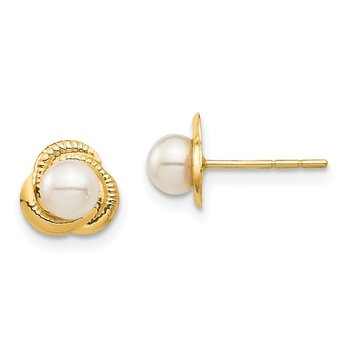 14K Madi K 4-5mm White Button Freshwater Cultured Pearl Post Earrings