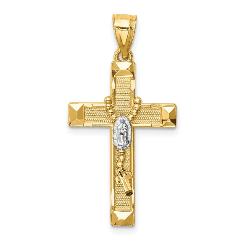 J.F. Kruse Signature Collection 14K w/Rhodium Cross w/Rosary Pendant