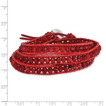 Red Leather Red Quartz Beaded Multi Wrap Brass Button Bracelet