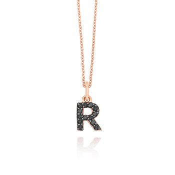 "Black Diamond Baby Block Initial ""R"" Necklace"