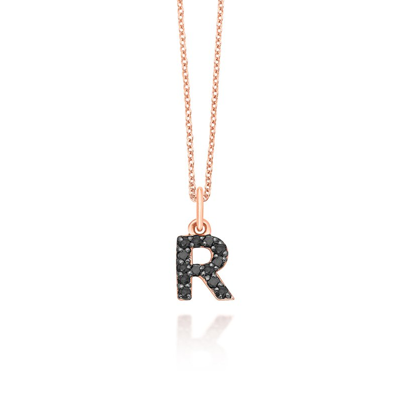 "KC Designs Black Diamond Baby Block Initial ""R"" Necklace"