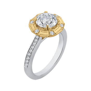 18K Two-Tone Gold Round Diamond Cathedral Style Engagement Ring (Semi-Mount)