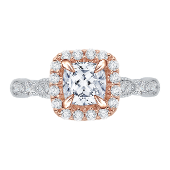 Cushion Diamond Halo Vintage Engagement Ring In 18K Two-Tone Gold (Semi-Mount)
