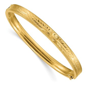 14k 4/16 Diamond-cut Concave Hinged Bangle Bracelet