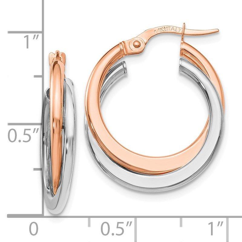 Leslie S 14k Two Tone Polished Hinged Double Hoop Earrings