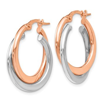 Leslie's 14K Two-tone Polished Hinged Double Hoop Earrings