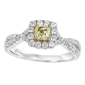 14K Diamond Engagement Ring 1 ctw With 1/3 Yellow Diamond Center