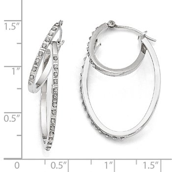 14k White Gold Diamond Fascination Hinged Double Hoop Earrings