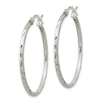 Sterling Silver Satin Diamond-cut 2x35mm Hoop Earrings