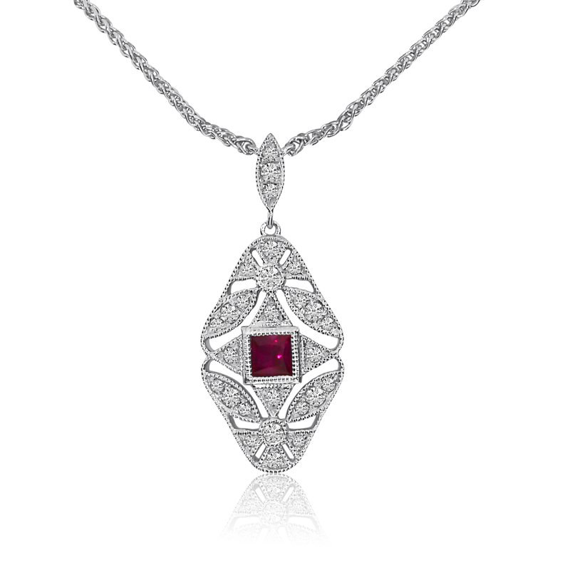 "Color Merchants Gold Filigree Princess Cut Ruby and Diamond Necklace with 18"" Chain"