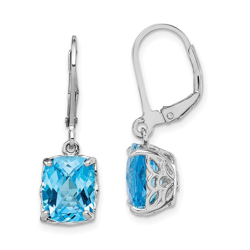 Quality Gold Sterling Silver Rhodium-plated Blue Topaz Earrings