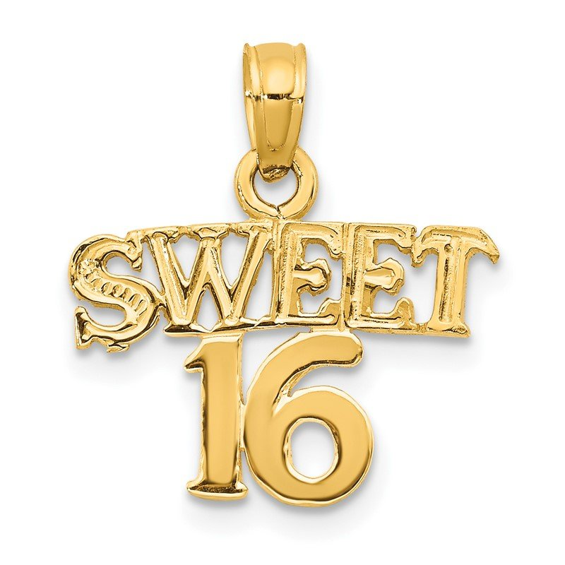 Quality Gold 14K SWEET 16 Pendant