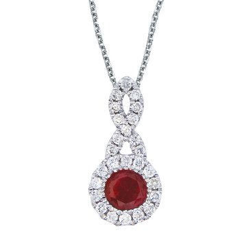 14k White Gold 4 mm Ruby and .14 ct Diamond Swirl Pendant