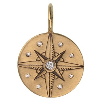 Ornate Compass Round Charm