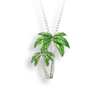 Green Palm Tree Necklace.Sterling Silver