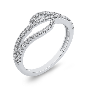 10K White Gold Round White Diamond Fashion Ring (1/3 cttw)