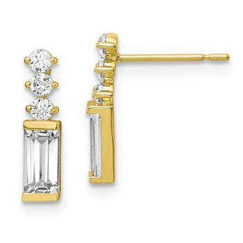 10K Polished CZ Earrings