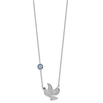 Sterling Silver Rhod-plated CZ Dove w/2in ext. Necklace