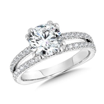Double-Prong Split Shank Diamond Engagement Ring