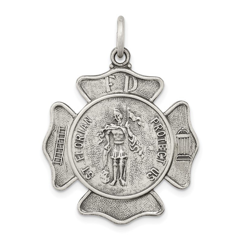 Quality Gold Sterling Silver Saint Florian Badge Medal