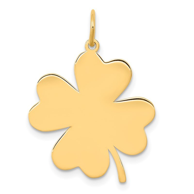 Quality Gold 14k Plain .018 Gauge Engravable Clover Disc Charm