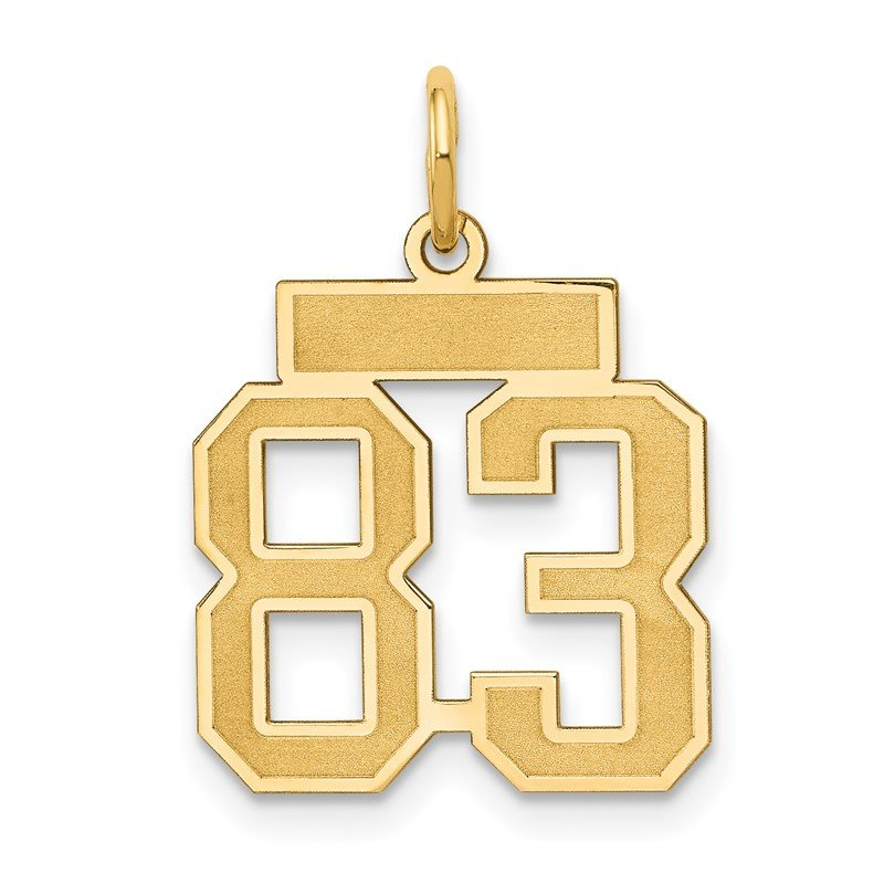 Quality Gold 14k Small Satin Number 83 Charm