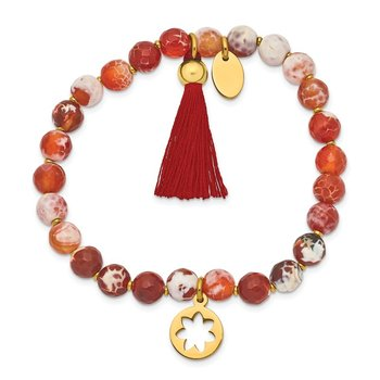 Stainless Steel Polished Yellow IP Flower Orange Agate Stretch Bracelet