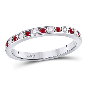 10kt White Gold Womens Round Ruby Diamond Single Row Stackable Band Ring 1/3 Cttw