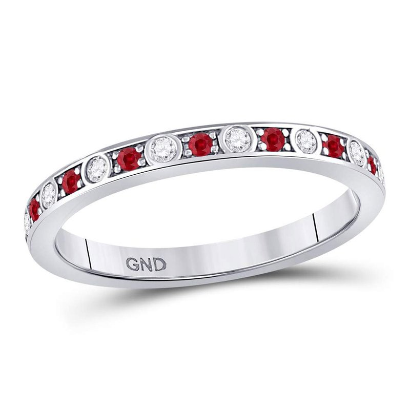 Kingdom Treasures 10kt White Gold Womens Round Ruby Diamond Single Row Stackable Band Ring 1/3 Cttw