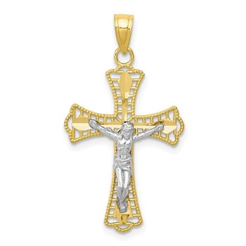 10K w/Rhodium Diamond-Cut Crucifix Pendant