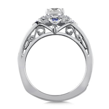Diamond & Blue Sapphire Halo Engagement Ring Mounting in 14K White Gold (.24 ct. tw.)