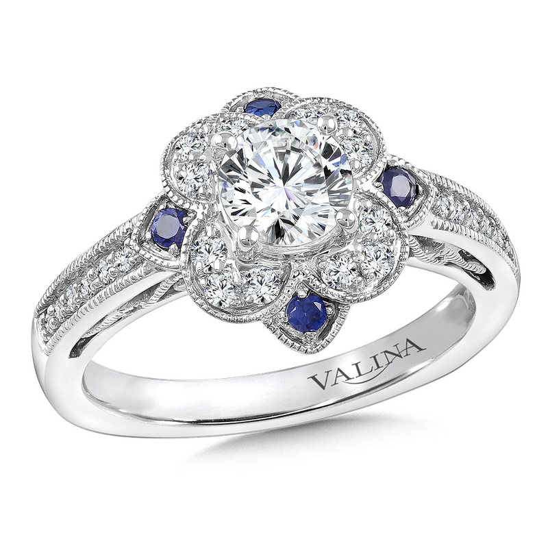 Valina Diamond & Blue Sapphire Halo Engagement Ring Mounting in 14K White Gold (.24 ct. tw.)