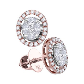14kt Rose Gold Womens Marquise Diamond Oval Frame Cluster Stud Earrings 7/8 Cttw